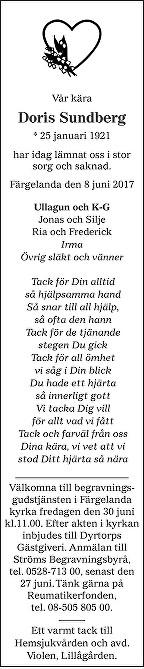 Doris Sundberg Death notice
