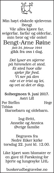 Bengt-Arne Røine Dødsannonse