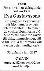 Eva Gustavssons Death notice