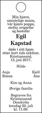 Egil Kapstad Dødsannonse