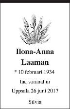 Ilona-Anna Laaman Dödsannons