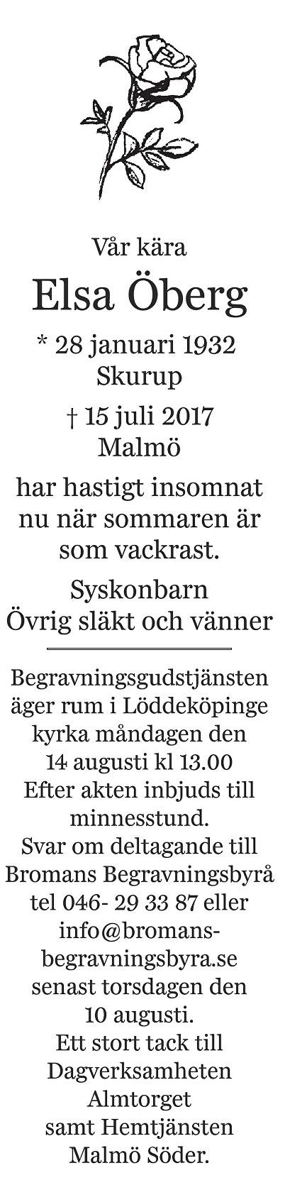 Elsa Öberg Death notice