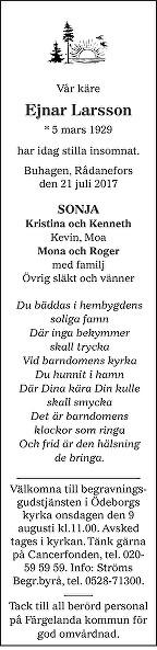 Ejnar Larsson Death notice
