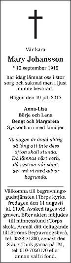 Mary Johansson Death notice