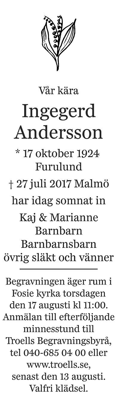 Ingegerd Andersson Death notice