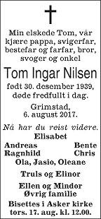 Tom Ingar Nilsen Dødsannonse