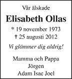 Elisabeth Ollas - Mattsson Dödsannons