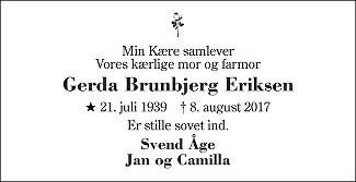 Gerda Brunbjerg Eriksen Dødsannonce