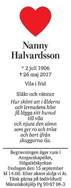 Nanny Halvardsson Dödsannons
