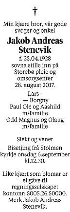 Jakob Andreas Stenevik Dødsannonse