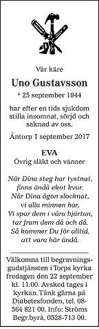 Uno Gustavsson Death notice