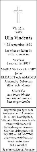 Ulla Vindenäs Dödsannons