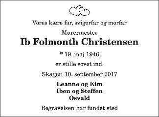 Ib Folmonth Christensen Death notice