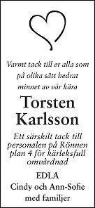 Torsten Karlsson Dödsannons