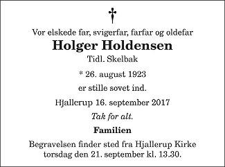 Holger Holdensen Death notice