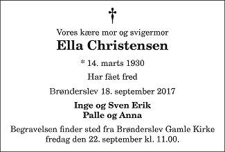 Ella Christensen Death notice
