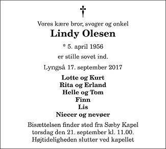 Lindy Olesen Death notice
