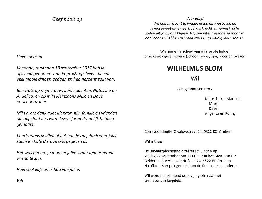 Wil Blom Death notice