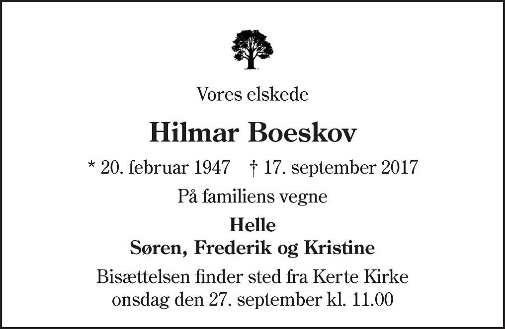 Hilmar Boeskov Death notice