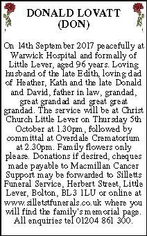 Donald Lovatt Death Notice