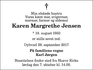 Karen Margrethe Jensen Death notice
