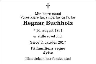 Regnar Buchholz Death notice