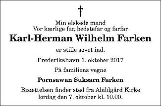 Karl-Herman Wilhelm Farken Death notice