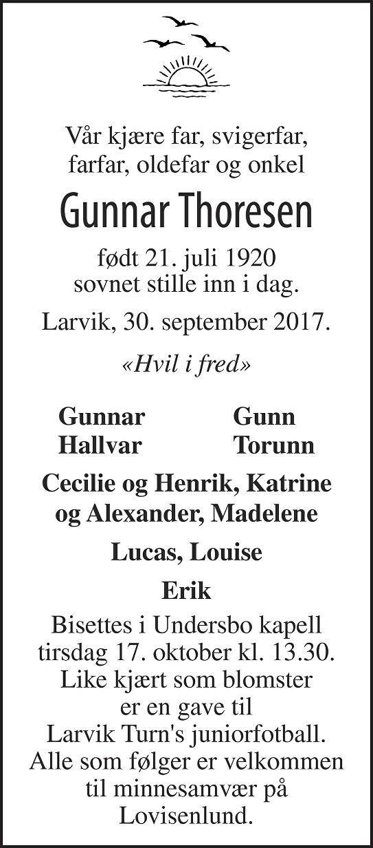Gunnar Thoresen Dødsannonse
