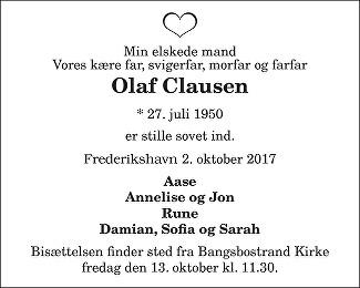 Olaf Clausen Death notice