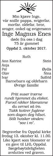 Inge Magnus Enes Dødsannonse