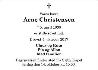 Arne Christensen Death notice