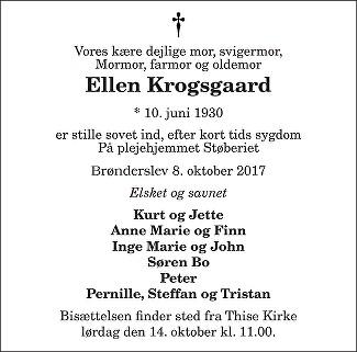 Ellen Krogsgaard Death notice