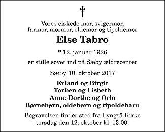 Else Tabro Death notice