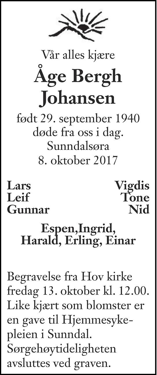 Åge Bergh Johansen Dødsannonse