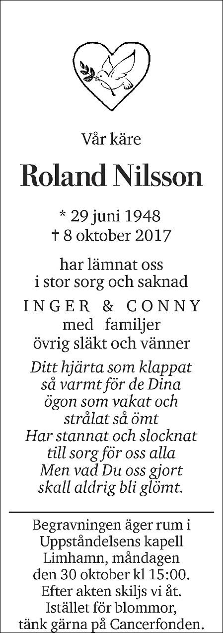 Roland Nilsson Death notice