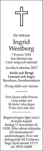 Ingrid Westberg Dödsannons
