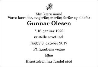 Gunnar Olesen Death notice