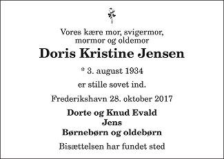 Doris Kristine  Jensen Death notice