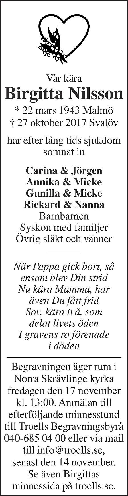 Birgitta Nilsson Death notice
