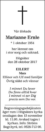 Marianne Ernle Death notice