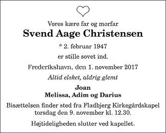 Svend Aage  Christensen Death notice