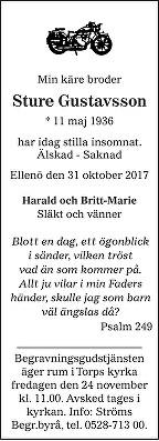 Sture Gustavsson Death notice