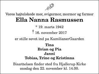 Ella Nanna  Rasmussen Death notice