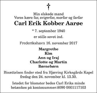 Carl Erik Kobber  Aarøe Death notice