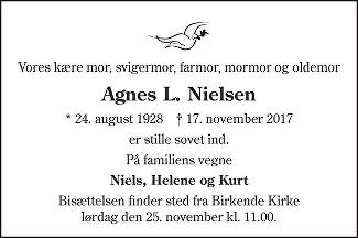 Agnes Laurine  Nielsen Death notice