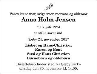 Anna Holm  Jensen Death notice