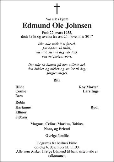 Edmund Ole Johnsen Dødsannonse