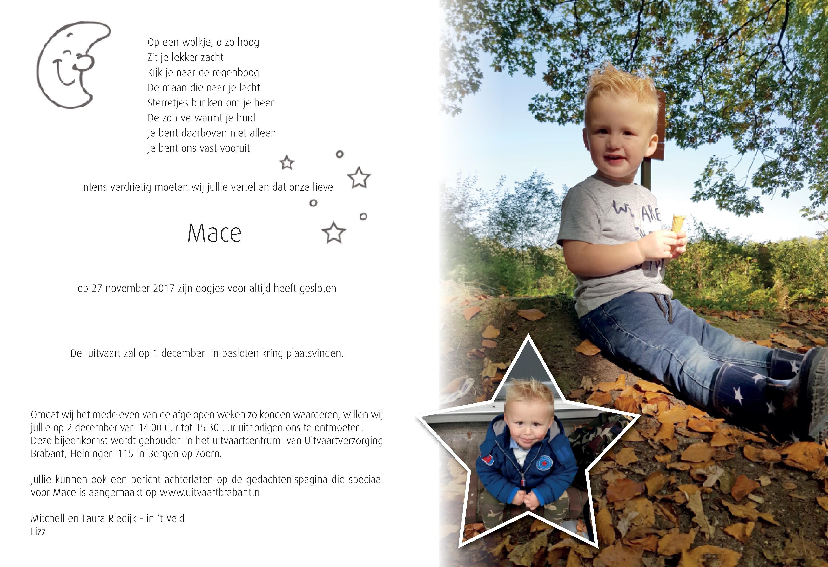 Mace Riedijk Death notice