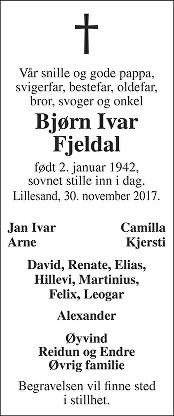 Bjørn Ivar Fjeldal Dødsannonse