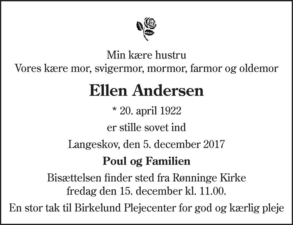 Ellen Andersen Death notice